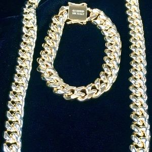 Other - CUBAN LINK 18K GOLD CHAIN & BRACELET MADE IN ITALY